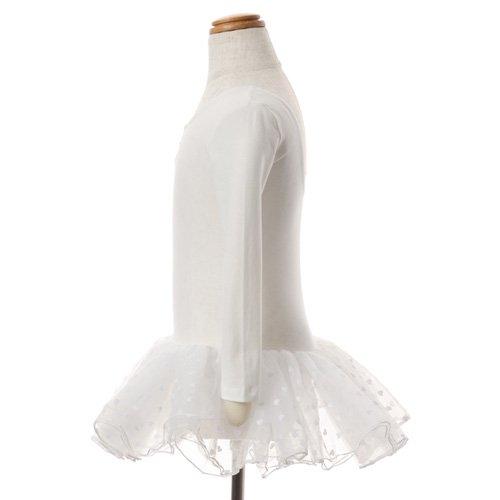 子供用 ハート柄チュールバレエレオタード(長袖) 105cm ホワイトの詳細写真02