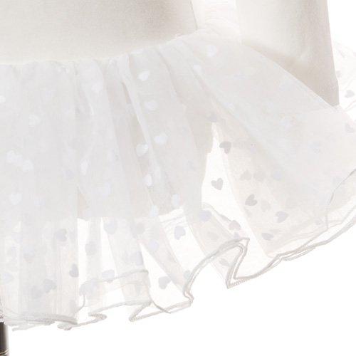 子供用 ハート柄チュールバレエレオタード(長袖) 105cm ホワイトの詳細写真04