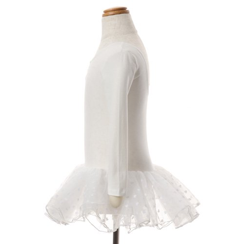 子供用 ハート柄チュールバレエレオタード(長袖) 110cm ホワイトの詳細写真02
