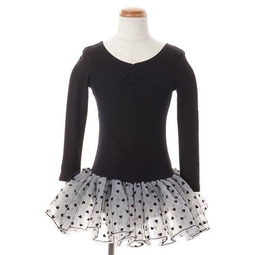 子供用 ハート柄チュールバレエレオタード(長袖) 110cm ブラックの写真