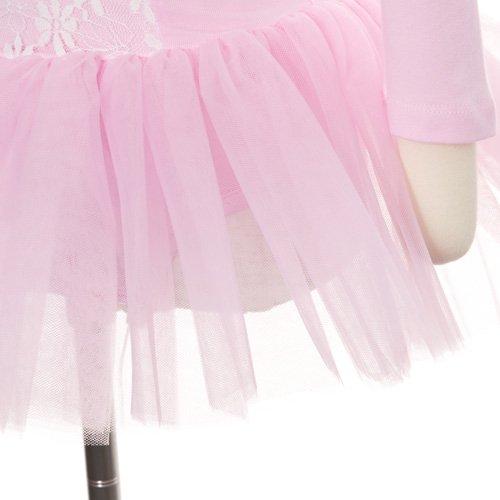 子供用 前身頃レース付きバレエレオタード(長袖) 105cm ライトピンクの詳細写真04