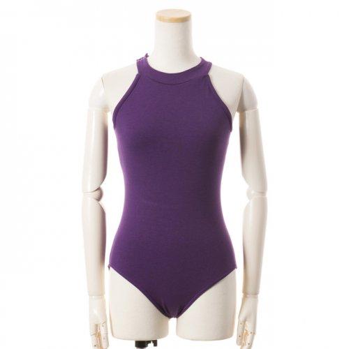 ホルターネックフラワーレースレオタード 紫 Lサイズの写真