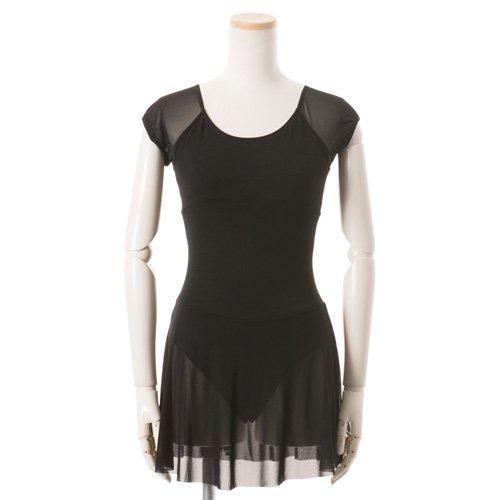 黒シフォンのスカート付きレオタードの写真