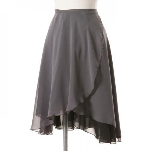 大人用リバーシブルバレエ巻きスカート ブラックグレー (ロング)の写真