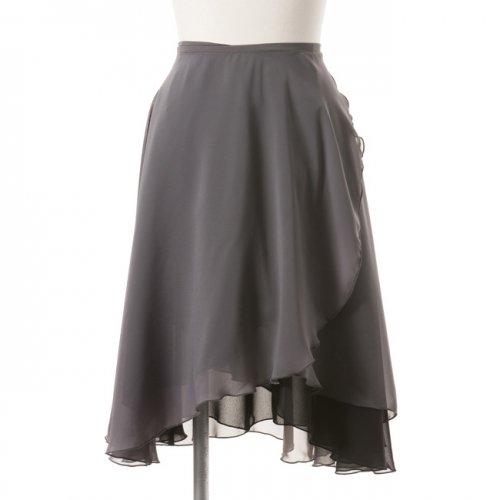 大人用リバーシブルバレエ巻きスカート ブラックグレー (ロング)の後ろからの写真
