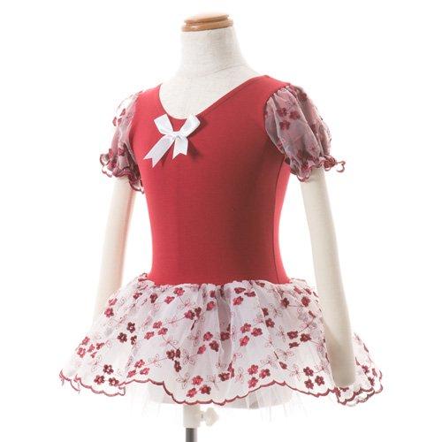 子供用 濃い赤のレオタード スカート付き 100cmの写真