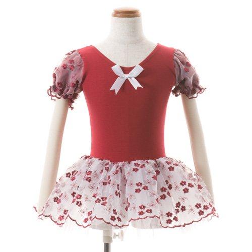 子供用 濃い赤のレオタード スカート付き 100cmの後ろからの写真
