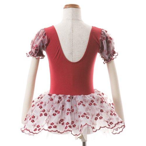 子供用 濃い赤のレオタード スカート付き 100cmの詳細写真03
