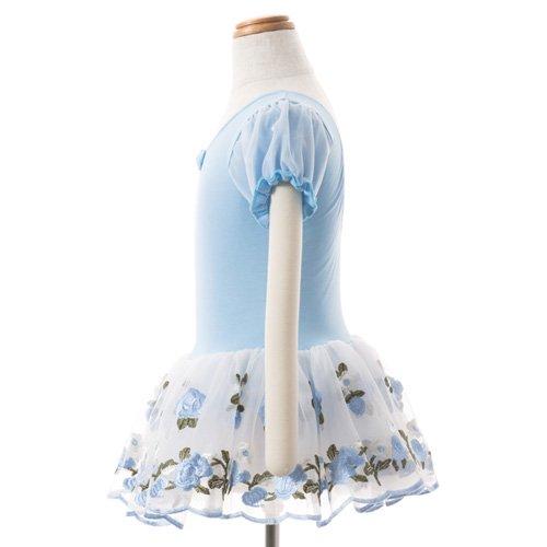 子供用 水色のレオタード 白デイジー柄のスカート付き 120cmの詳細写真02