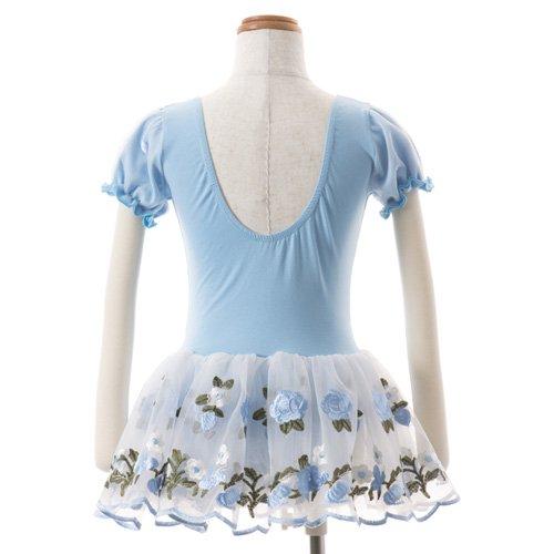子供用 水色のレオタード 白デイジー柄のスカート付き 120cmの詳細写真03