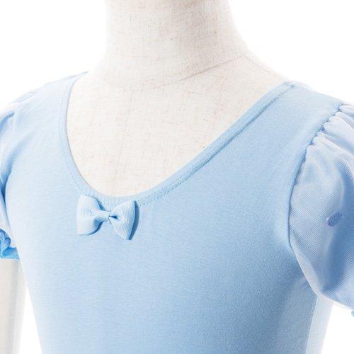 子供用 水色のレオタード 白デイジー柄のスカート付き 120cmの詳細写真04