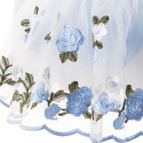 子供用 水色のレオタード 白デイジー柄のスカート付き 120cmの詳細写真05