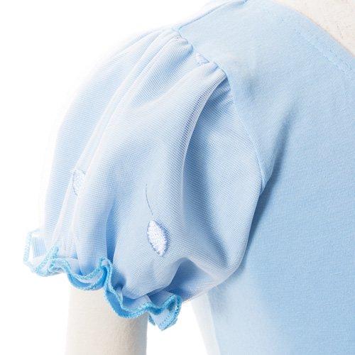 子供用 水色のレオタード 白デイジー柄のスカート付き 120cmの詳細写真06