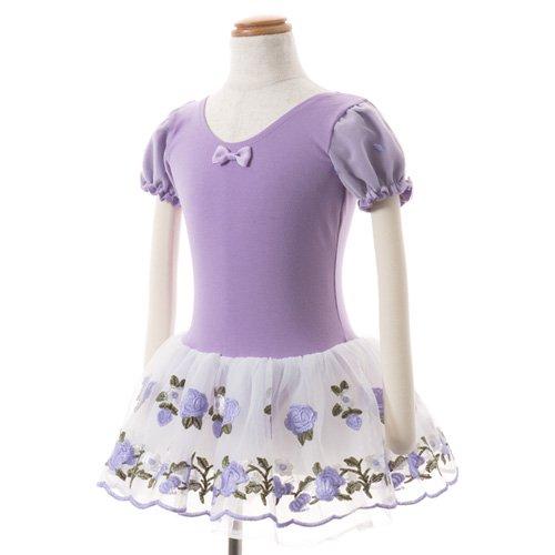 子供用 うす紫色のレオタード 白デイジー柄のスカート付き 130cm の写真