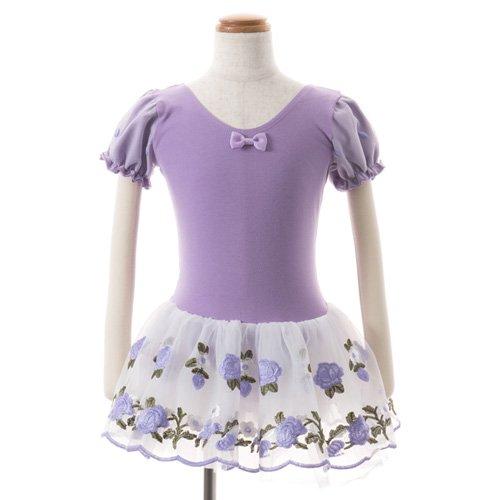 子供用 うす紫色のレオタード 白デイジー柄のスカート付き 130cm の後ろからの写真