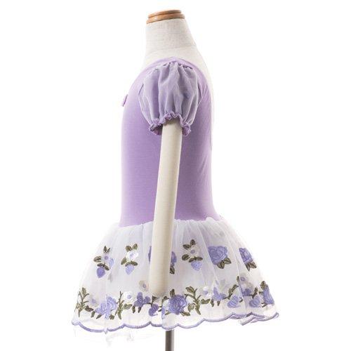 子供用 うす紫色のレオタード 白デイジー柄のスカート付き 130cm の詳細写真02