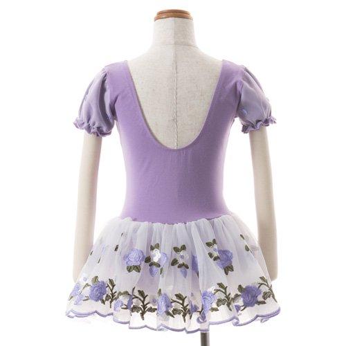 子供用 うす紫色のレオタード 白デイジー柄のスカート付き 130cm の詳細写真03
