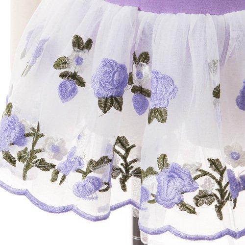 子供用 うす紫色のレオタード 白デイジー柄のスカート付き 130cm の詳細写真05