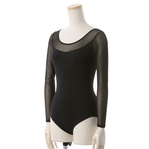 肩&腕が細く見える!重ね着風メッシュバレエレオタード 長袖 ブラック (Lサイズ)の写真