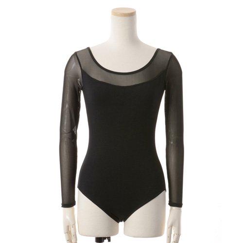 肩&腕が細く見える!重ね着風メッシュバレエレオタード 長袖 ブラック (Lサイズ)の後ろからの写真