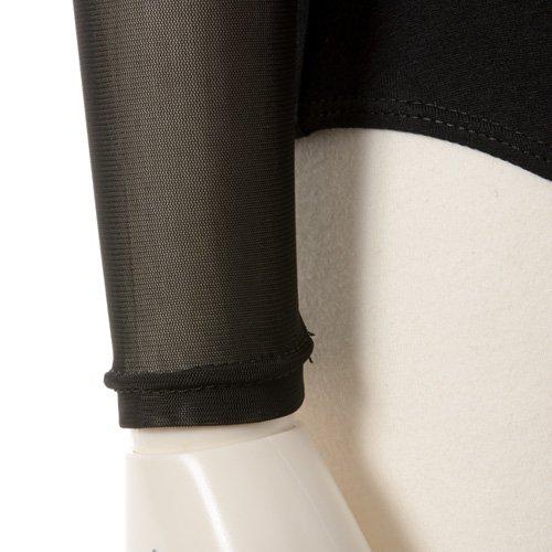 肩&腕が細く見える!重ね着風メッシュバレエレオタード 長袖 ブラック (Lサイズ)の詳細写真06