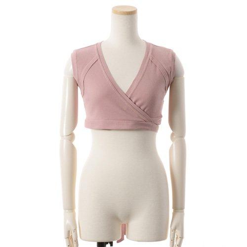 送料無料★大人バレエ用のトップス・ボレロ・バックカシュクール 袖なし ピンク(Mサイズ) の後ろからの写真