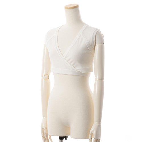 大人バレエ用のトップス・ボレロ・バックカシュクール 袖なし ホワイト(Mサイズ) の写真