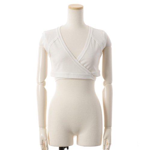 大人バレエ用のトップス・ボレロ・バックカシュクール 袖なし ホワイト(Mサイズ) の後ろからの写真