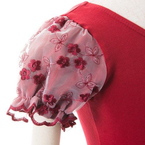 子供用 濃い赤のレオタード スカート付き 110cmの詳細写真06