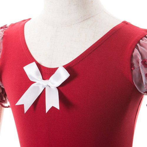 子供用 濃い赤のレオタード スカート付き 120cm の詳細写真04