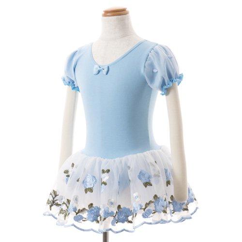子供用 水色のレオタード 白デイジー柄のスカート付き 130cm の写真