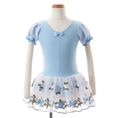 子供用 水色のレオタード 白デイジー柄のスカート付き 130cm の後ろからの写真