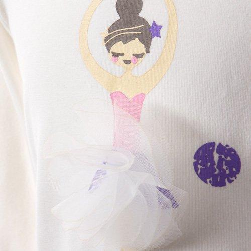 子供用 バレエ長袖Tシャツ 白 サイズ110の詳細写真05