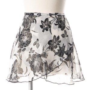 大人用バレエ巻きスカート 花柄 ホワイトブラック(フリーサイズ)の写真