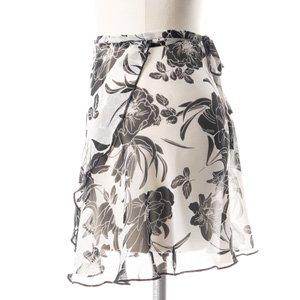 大人用バレエ巻きスカート 花柄 ホワイトブラック(フリーサイズ)の詳細写真02