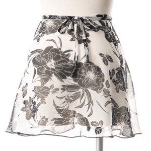 大人用バレエ巻きスカート 花柄 ホワイトブラック(フリーサイズ)の詳細写真03