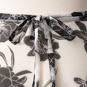 大人用バレエ巻きスカート 花柄 ホワイトブラック(フリーサイズ)の詳細写真04