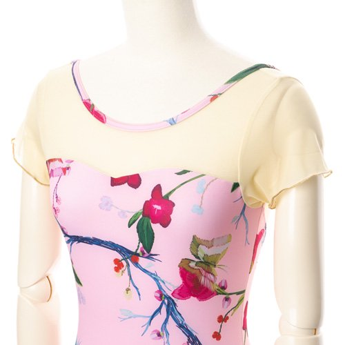 新作!メッシュ・大きな花柄の華やかなバレエレオタード ピンク(Mサイズ)の詳細写真04