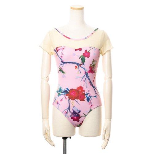 新作!メッシュ・大きな花柄の華やかなバレエレオタード ピンク(Lサイズ)の写真