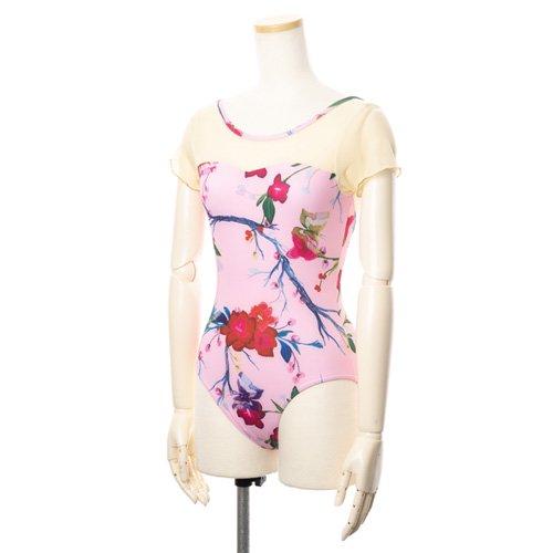 新作!メッシュ・大きな花柄の華やかなバレエレオタード ピンク(Lサイズ)の後ろからの写真