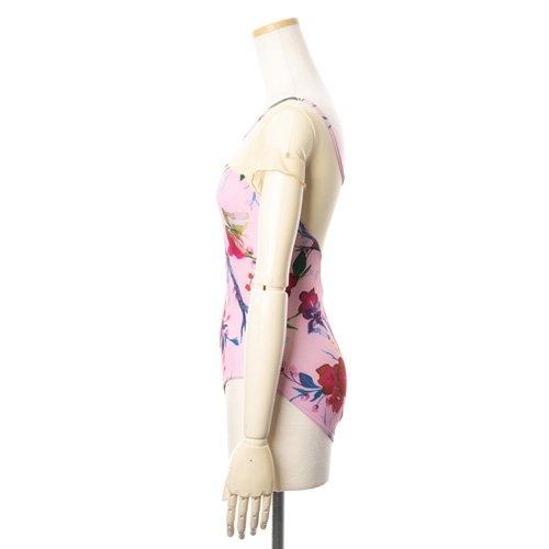 新作!メッシュ・大きな花柄の華やかなバレエレオタード ピンク(Lサイズ)の詳細写真02