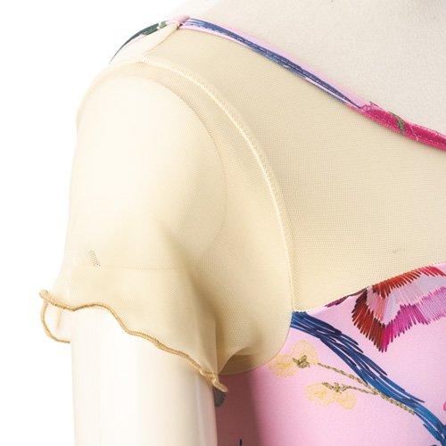 新作!メッシュ・大きな花柄の華やかなバレエレオタード ピンク(Lサイズ)の詳細写真05