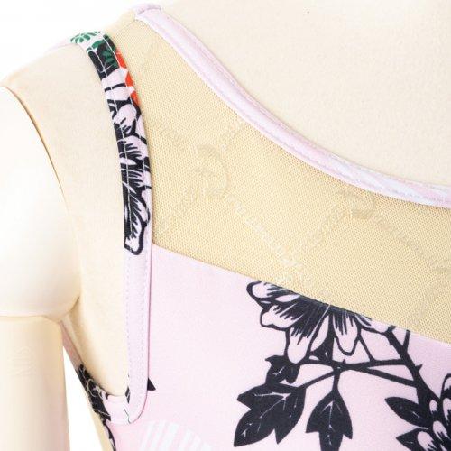 背中の空きが美しいメッシュ・ピンクのバレエレオタード フラワー(Mサイズ)の詳細写真02