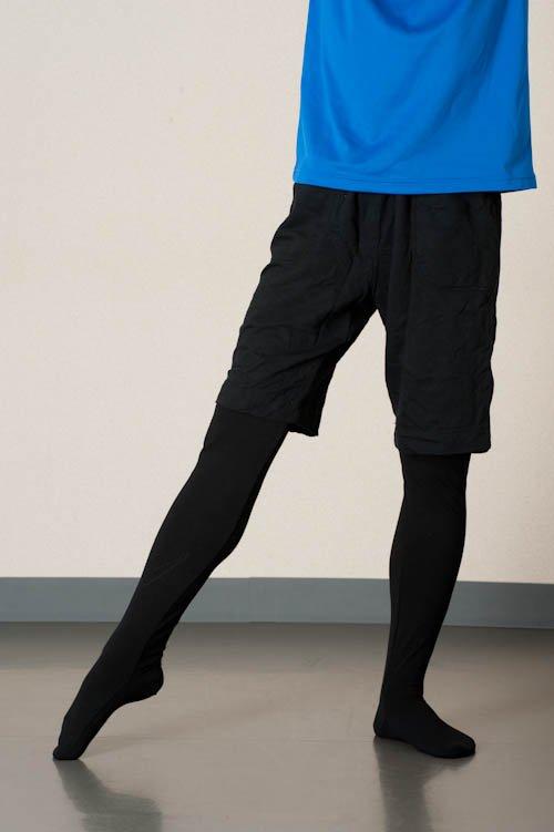 メンズ男性用バレエタイツ ブラック (Mサイズ)の後ろからの写真