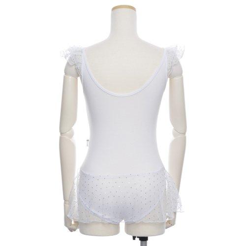 子供用スカート付バレエレオタード 身長約90cm対応(2〜3歳)  サイズ8 ホワイトの後ろからの写真