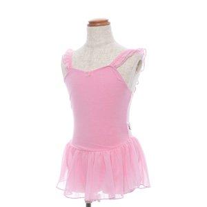 子供用バレエレオタード (お花モチーフ)身長135cm〜145cm対応 ピンクの後ろからの写真