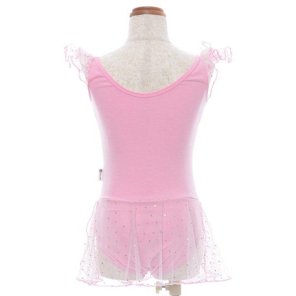 子供用スカート付バレエレオタード 身長99cm〜108cm対応(4.5歳〜5.5歳)  サイズ12ピンクの後ろからの写真