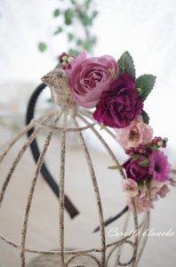 お花のカチューシャ(ピンク・紫系)
