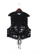 『Mame Kurogouchi』コード刺繍ベスト/Cording Embroidery Vest (ブラック)