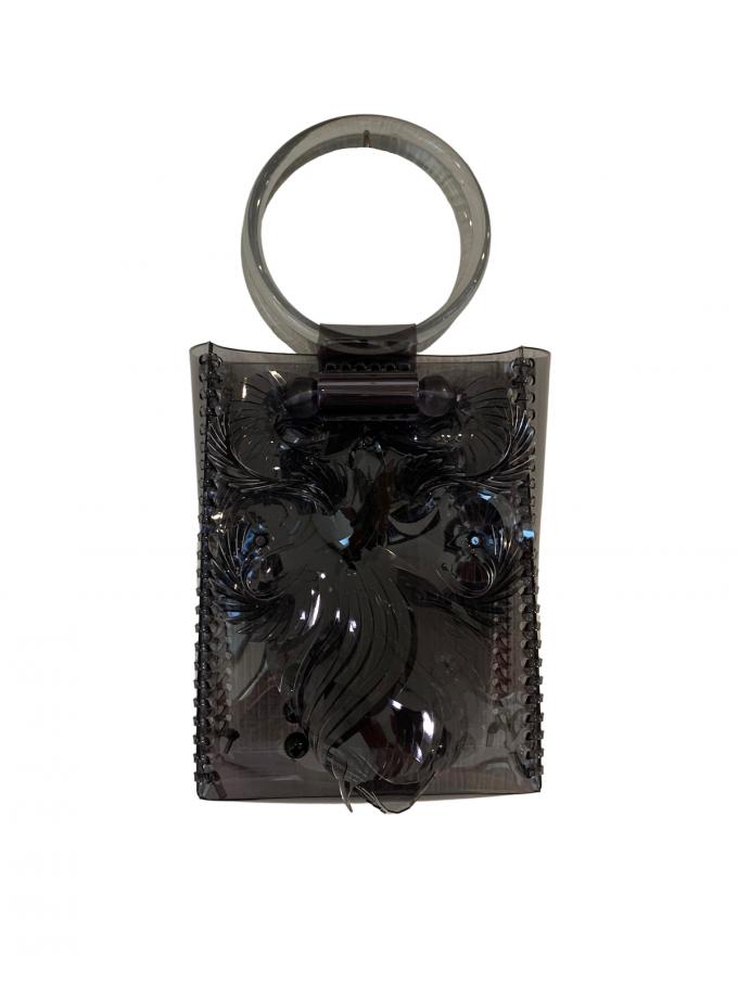 『Mame Kurogouchi』PVCミニハンドバッグ/ Transparent Sculptural(Vinyl Chloride) Mini Handbag (ブラック)